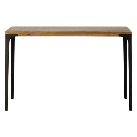 table carree 120 cm metal and solid mango wood console table w 120cm metropolis maisons du monde