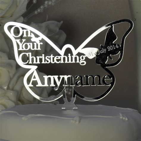 personalised christening butterfly cake topper keepsake