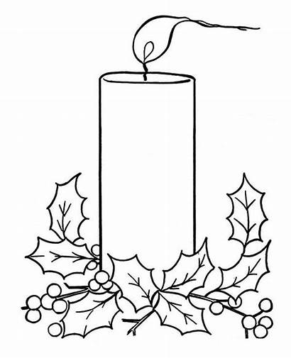 Candle Christmas Coloring Pages Drawing Candles Advent