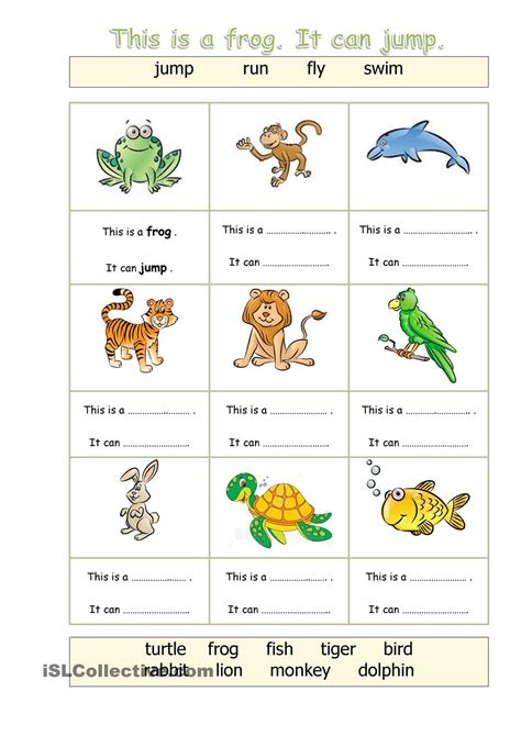Animals  Can  English Worksheets