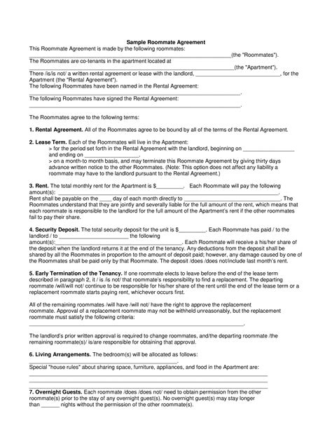 roommate lease contract templates