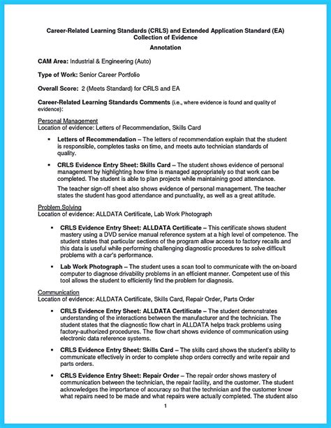 Resume Format For Technician by Writing A Concise Auto Technician Resume