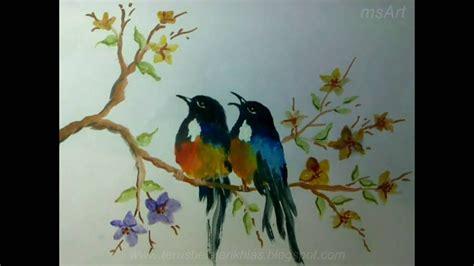 belajar melukis menggunakan cat air menggambar burung bag