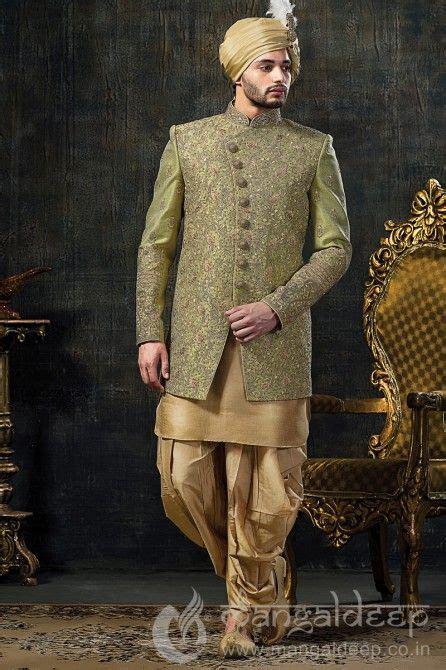 dashing groom indo western sherwani  sea green colour