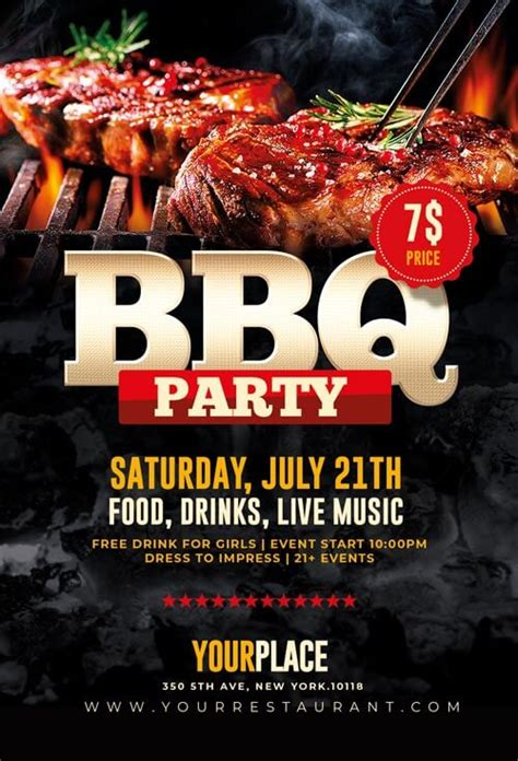 bbq flyer barbecue party templates psd creative flyers