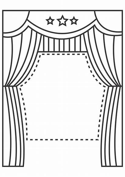 Stage Clipart Puppet Template Theater Coloring Theatre