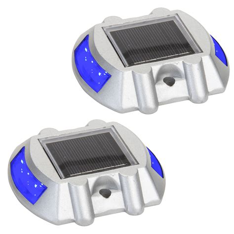 2 pack blue solar powered led road stud driveway pathway