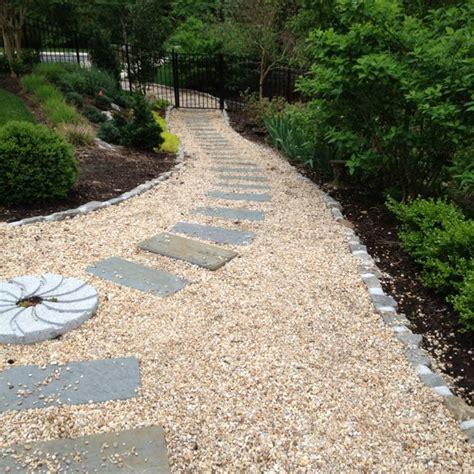 gravel sidewalk ideas bluestone with pea gravel walkway new house stuff pinterest