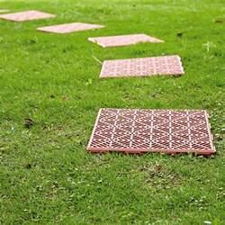 4 x interlocking plastic garden path tiles lawn paving