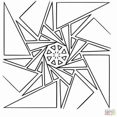 Mandala Geometric Coloring Pages Printable Sheets Drawing