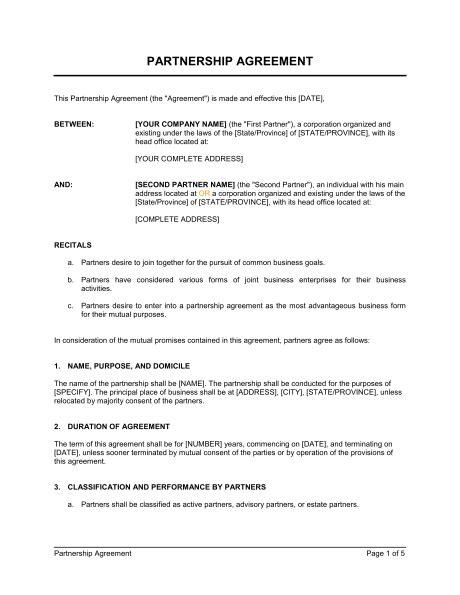 printable sample partnership agreement sample form real