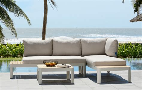 Exterior Furniture by Aluminium And Teak Lounge Set 4 Seater Garden