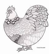 Chicken Coloring Zentangle Books Cartoons Drawing Orpington sketch template