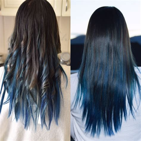 Black On Bottom On Top Hairstyles by Brown In The Top And Diffrent Blue Color In Bottom