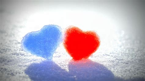wallpaper love hearts frozen hearts blue red snow