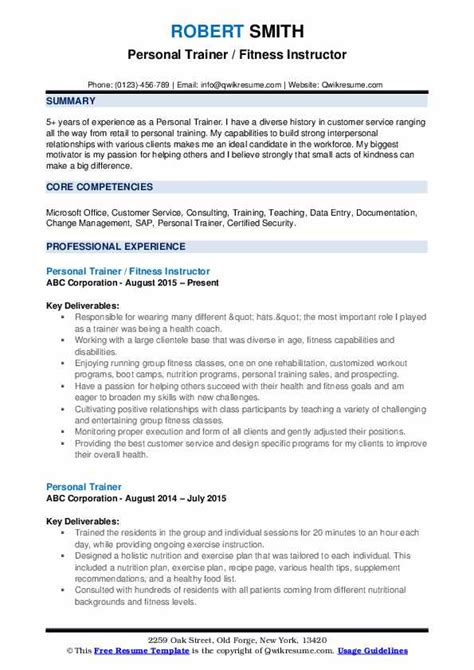 Fitness Instructor Resume by Personal Trainer Resume Sles Qwikresume