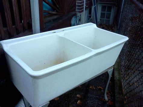 porcelain laundry utility sink vintage 1930 39 s cast iron porcelain double basin utility