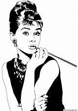 Coloring Celebrity Hepburn Pages Audrey Printable sketch template