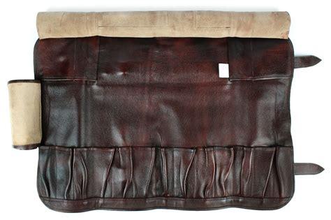 boldric leather knife bag  pocket brown cutlery