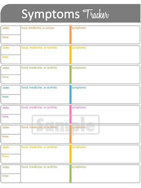 symptoms tracker printable  health  medical