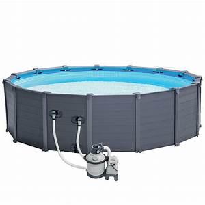 Piscine Tubulaire Hors Sol : piscine hors sol tubulaires graphite 478x124cm gris ~ Melissatoandfro.com Idées de Décoration