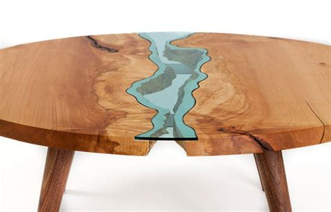 Woodworking Bench Tops by Beautiful Wooden Tables With Glass Rivers And Lakes