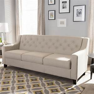 Baxton, Studio, Arcadia, Modern, And, Contemporary, Light, Beige, Fabric, Upholstered, Button
