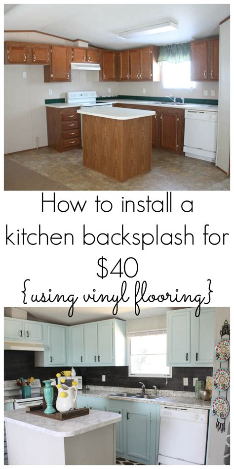 how to do backsplash in kitchen our 40 backsplash using vinyl flooring re fabbed