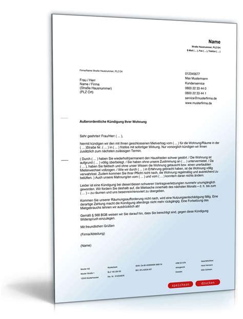 Ordentliche Kündigung Mieter by Fristlose K 252 Ndigung Durch Vermieter Muster Zum