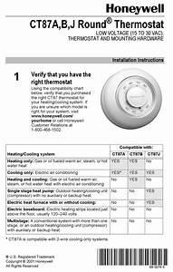 Honeywell Ct87a Round Installation Instructions Manual Pdf