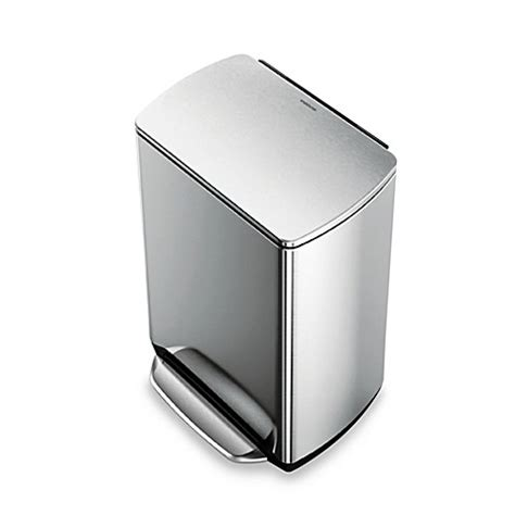 Kitchen Trash Can 9 Inches Wide by Simplehuman 174 Brushed Stainless Steel Fingerprint Proof