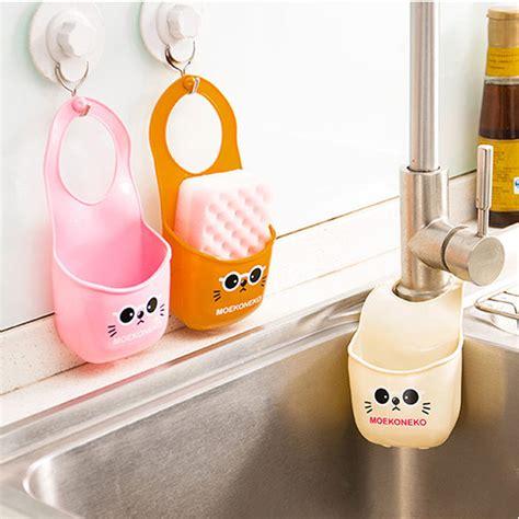 mini sink storage basket hanging bag water tank shelf organizer  toilet kitchen sponge soap