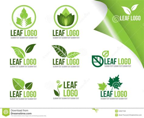 Collection Of Ecology Logo Symbols, Organic Green Leaf