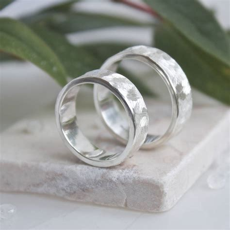 handmade textured silver rings textured wedding bands by