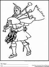 Coloring Bagpipes Scotland Kilt Colouring Scottish Burns Highlander Andrews Ginormasource Printable British Afkomstig Paul Isles sketch template