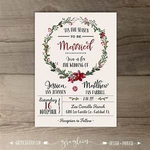 winter wedding invitations wreath 39tis the season to With wedding invitations for december