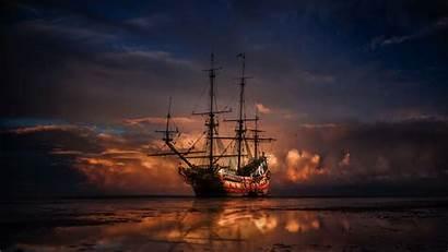 Ship Horizon Sunset Sea Widescreen
