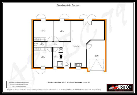 plan maison plain pied 2 chambres gratuit plan maison plain pied 3 chambres 75m2