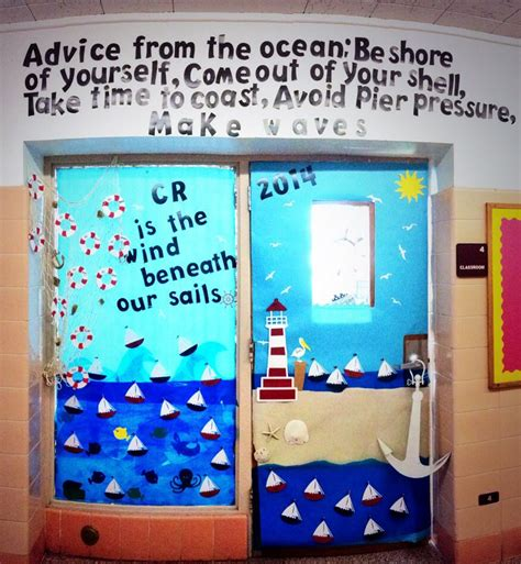 "Nautical Themed Classroom Door Using "" Life Is A Beach"