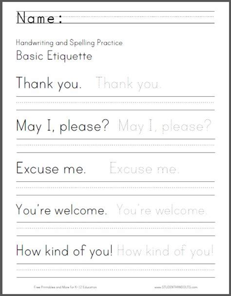 basic etiquette writing worksheet student handouts