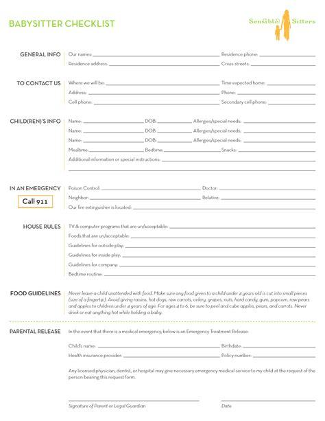 babysitter checklist template excel  rtf