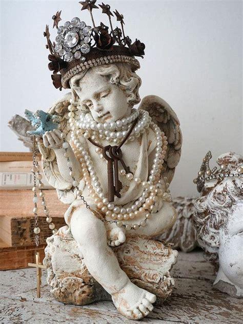 cherub angel blue bird statue french santos inspired handmade crown adorned angelic figure