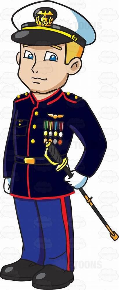 Marine Soldier Clipart Marines Corps Officer Cartoon