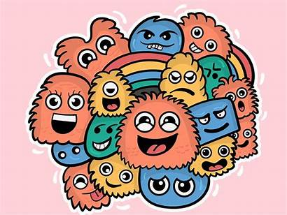 Doodle Colorful Characters Artwork Dribbble Cartoon Monster