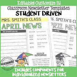 monthly newsletter template editable student driven