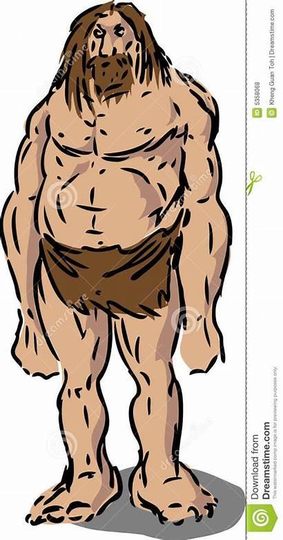 Caveman Illustration Neanderthal Hairy Royalty Vector Scruffy
