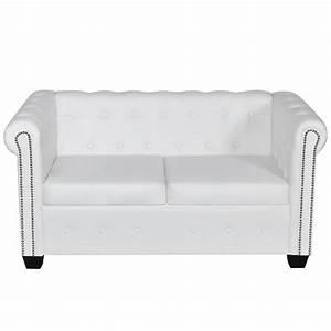 2 Sitzer Sofa Günstig : wei es chesterfield 2 sitzer sofa g nstig kaufen ~ Frokenaadalensverden.com Haus und Dekorationen