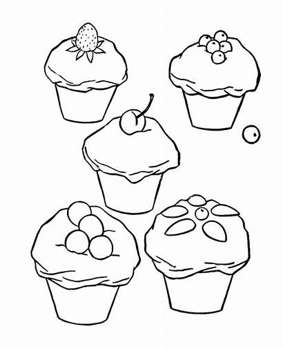 Coloring Pages Cake Cupcake Birthday Cupcakes Cakes
