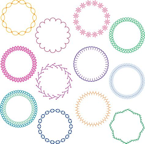 colorful stitched circle frames   vectors