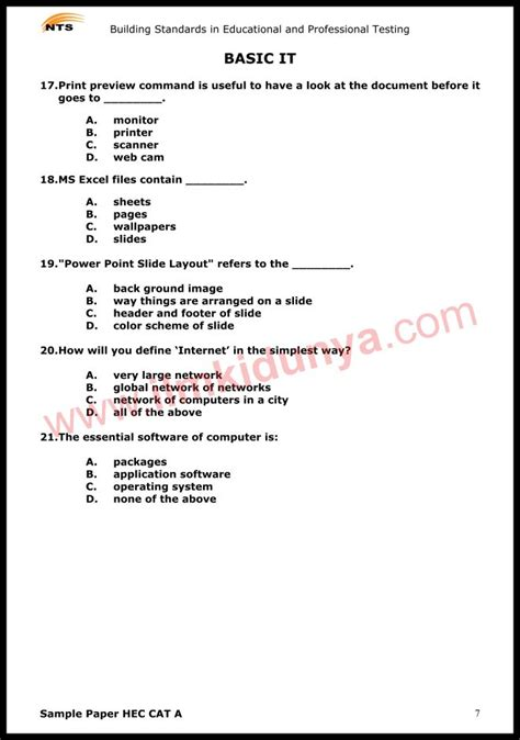 nts sample  papers hec recruitment test  basic